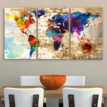 Seekland Art 3 Panel Colorful Old World Map Print Image 1